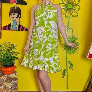 Vintage Hawaiian swirled halter mini dress S
